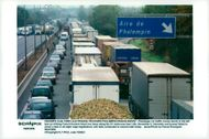 Striking truck drivers block A1 near Lille