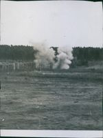View of a bomb blast during wartime, Finland, 1941.