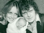 The actress and the model Twiggy with Michael Witney and newborn baby