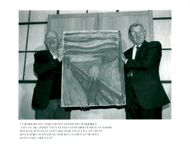 """Black white image of Edvard Munch's painting """"Skriet"""" after it was found by theft"""