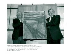 "Black white image of Edvard Munch's painting ""Skriet"" after it was found by theft"