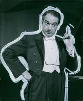 Portrait of  a Danish comedian, conductor, and pianist Victor Borge.