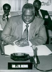 A photo of Joshua Nkomo during a conference, 1979.