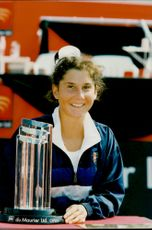 Monica Seles after the profit in the Canada Masters
