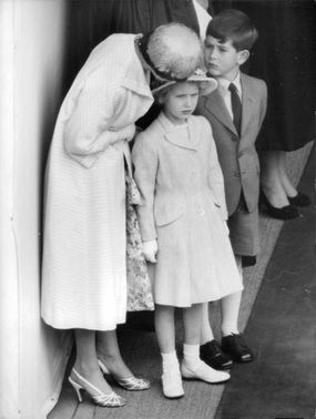 Queen Elizabeth II with her children, Princess Anne and Prince Charles.