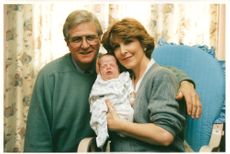 Patricia Hodge with her Husband peter owen and her Baby son.