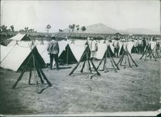 A vintage photo of people standing beside their camp and their rifles are arranged in front of their camp. 1904