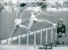 Alan Pascoe jumping on hurdles at the European Games in Nice (1974).