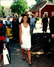 Crown Princess Victoria photographed during her visit to the ceremony of her brother Prince Carl Philips Confirmation in Vadstena.