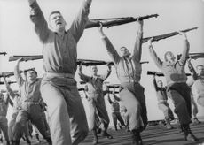 Sailors doing exercise.