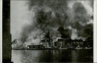 Kristiansund burns after the four days of German bombings against the city. 1940.