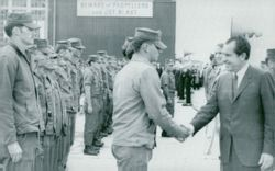 US President Richard Nixon is greeted by returning Vietnam veterans at the Point Mugu air base