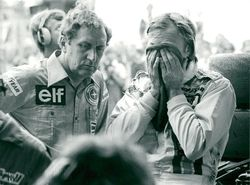 Ronnie Peterson (th) after a race in Formula 1.