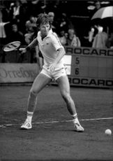 Peter McNamara in action during the Davis Cup in 1981