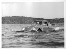 Two men inside a Volkswagen that is about to sink in the water.