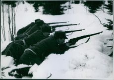 1940 Norwegian soldiers in the country outside Steinkjer just before the retrect on the allies during winter war.