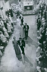 A aerial view of Princess Benedikte and Prince Richard wedding ceremony, 1968.