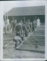 Colonial troops helping the people to plant, 1935.