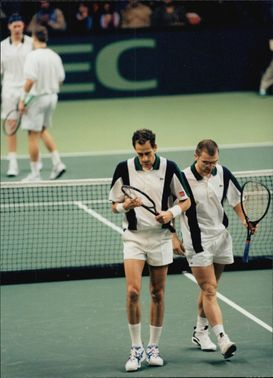 Kulti and Björkman against Forget and Raoux during the double-match Sweden-France in the Davis Cup 1996
