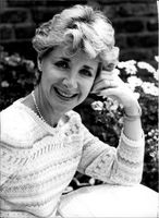 Portrait image of actress Angela Douglas taken in an unknown context.