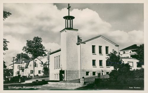 Postcard of Mission Church in Ulricehamn.
