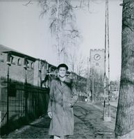 Swedish nurse and philanthropist Elsa Brandstrom walking, 1945.