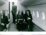 Men sitting inside the Sud Aviation Super-Caravelle, 1961.