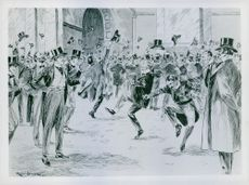 """Illustration of people gathered in a street and celebrating.  """"Boer War""""  1900"""