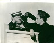 """Mickey Rooney and Freddie Bartholomew in the movie """"Lord Jeff"""" - 18 October 1938"""