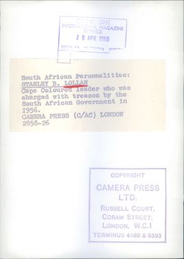 South African personality, Stanley B. Lollan. 1960