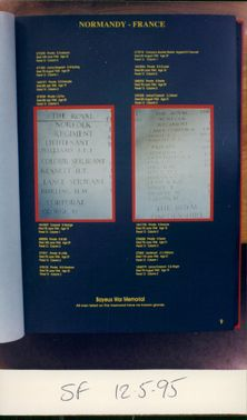 Royal Norfolk Regiment: Page from the Book for the Memory of Men of the 1st and 7th Battalions.