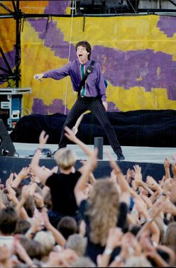 Mick Jagger performs on stage