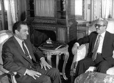 Meeting between Hosni Mubarak and Tariq Aziz in Alexandria in January 1984.