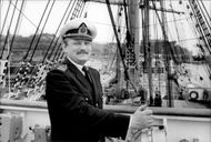 "Captain Dainis Tsaune aboard the Soviet school ship ""Sedov"", which just arrived at Stadsgårdskaya with 164 cadets and 70 crewmen"