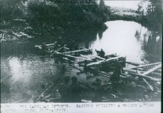 Sappers building a bridge across the river in Karelian Isthmus during the war time  between Finland and Russia in 1944.