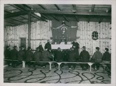 Soldiers' conference in Germany during the World War. January 1915
