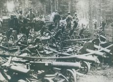 Mortars and other captured Russian military equipment being held by the German army.