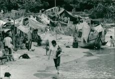 Vietnamese boat people at tai a chau camp.