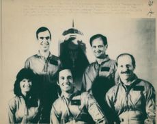 """Space shuttle """"Challenger"""" crew Sharon Christa McAuliffe,  Gregory Jarvis, Francis R. Scobee, Ronald McNair,Mike Smith and  Ellison Onizuka"""