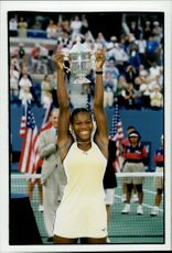 Serena Williams with the highest score after the win against Martina Hingis during the US Open.