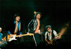 Keith Richards, Mick Jagger and Ron Wood during The Rolling Stones concert in the Globe