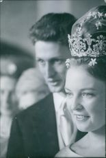 Carl, Duke of Württemberg, with his bride Princess Diane of France on their wedding day. 1960.