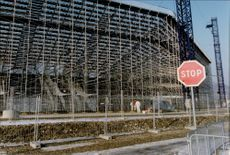 Ongoing construction of the Olympic Stadium in front of the Winter Olympics in Albertville in 1992