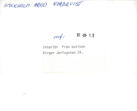 Company: Arvid Nordquist. Ineriör from the store at Birger Jarlsgatan 24