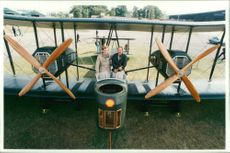 Pilot peter mcmillan and lang kidby with the replica plane.