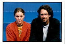 Portrait of actress Frances McDormand with Joel Coen