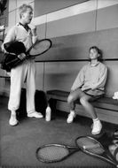 Catarina Lindqvist tennis player in the dressing room