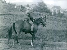 Richard, 6th Prince of Sayn-Wittgenstein-Berleburg, riding a horse. 1968.