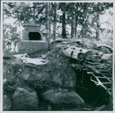 A tunnel in the forest during Winter war in Finland, 1941.
