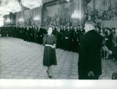 Rene Coty in a ceremony.